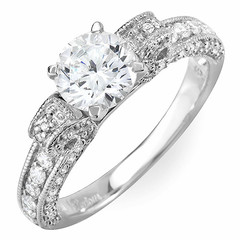 Tri Side Scroll Shoulders Diamond Engagement Ring