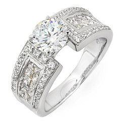 Wide Pave Channel Diamond Engagement Ring