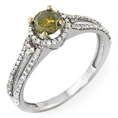 Yellow Diamond Ring with Split Shank and Halo