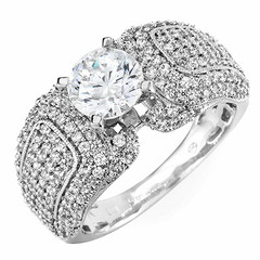 Cathedral Setting Pave Diamond Engagement Ring