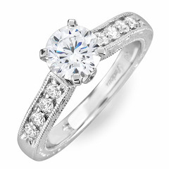 Diamond Engagement Ring with Milgrain Side Stone
