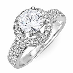 Halo Diamond Engagement Ring with Pave Shoulders