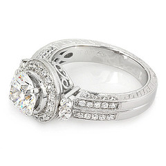 Halo Diamond Engagement Ring with Scroll Gallery