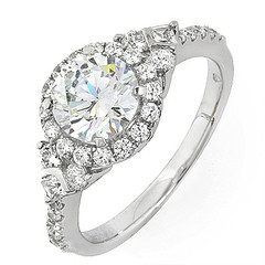 Halo With Side Stones Engagement Ring