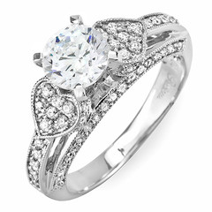 Heart Shaped Side Stone Clusters Diamond Engagement Ring