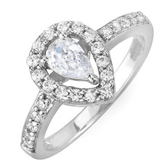 Pear Drop Halo Diamond Engagement Ring