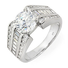 Round and Baguette Side Stones Diamond Engagement Ring