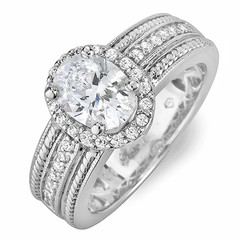 Shoulder Channel Halo Diamond Engagement Ring